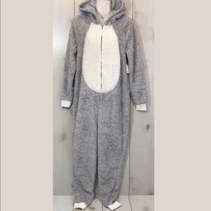 NWT F21 Gray Cream Penguin Sherpa Hooded Jumpsuit
